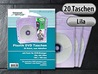 General Office 20 Folien-Taschen für 20 DVDs+Cover, lila, abheftbar, Vlies