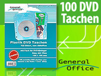 General Office 100 Folien-Taschen für 100 DVDs+Cover, blau/abheftbar/Vlies
