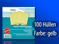 General Office 100 Papier CD/DVD-Archivhüllen gelb