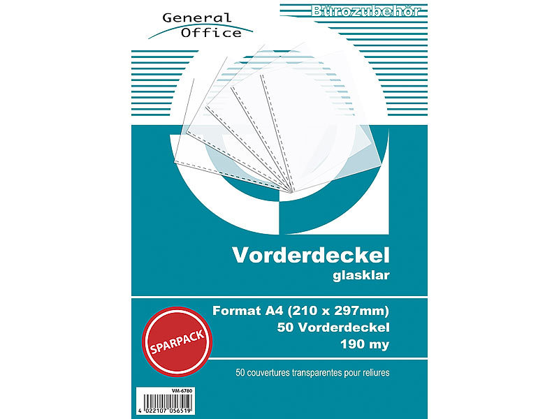 General Office 50 glasklare Vorderdeckel A4 190my für Spiralbindung